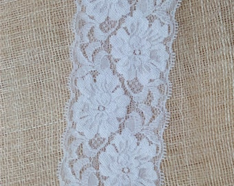 2.5 inches lace trim, stretch lace in white for headband - white bridal garter lace with floral and beautiful scalloped 1409281