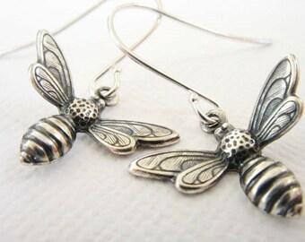 Antiqued Silver Bee Earrings - Little Honeybee Earrings, Sterling Silver Bee Earrings, Bee Jewelry, Insect Jewelry, Animal Jewelry, Bohemian