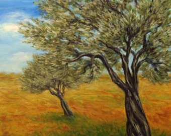 Landscape Painting, Olive Tree Painting, Acrylic on Canvas, Tree Painting, Original Painting.