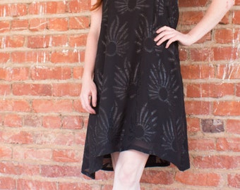 Knights of the Night One of a Kind Hand Made Round Neck Black Short Dress