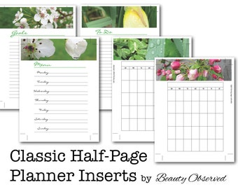 "Instant Download 5 Classic Half-Page Planner Pages Digital PDF 5.5"" x 8.5"" by Beauty Observed Inserts Nature Photography"