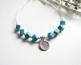 TURQUOISE COLLECTION - Precious Blue Turquoise Bracelet, Sterling Silver Bracelet, December Birthstone, Gift
