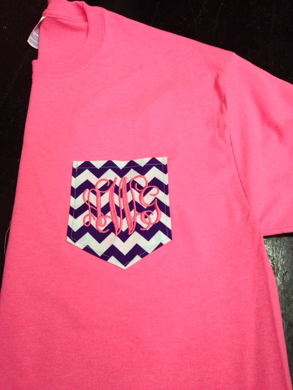 monogrammed chevron pocket tee shirt monogrammed by