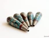 Handmade Tibetan White Metal Beads - Turquoise and Coral Inlay - Teardrop Beads