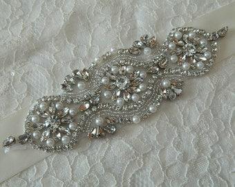 Bridal Sash Wedding Sash Bridal Sash Wedding Sash Rhinestone And Pearl Sash on satin ribbon