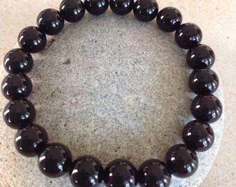 Black Onyx Gemstone Beaded Bracelet. Power Bracelet.  Yoga Bracelet. Men/Women.  Minimalist Bracelet. Simple Stretch Bracelet. Simple.