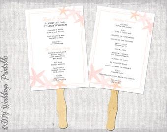 "Fan program template ""Starfish"" Coral DIY wedding order of ceremony printable fan program Word instant download wedding programs"