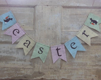 Easter Banner, Easter Garland, Easter Bunting, Happy Easter, Burlap Banner, Photo Prop, Burlap flag Banner, Rustic, Pennet