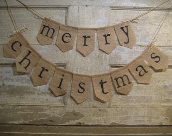 Ready to Ship, Merry Christmas Banner, Christmas Bunting, Christmas Decor, Holiday Decor, Burlap Bunting, Burlap Garland, Rustic Christmas