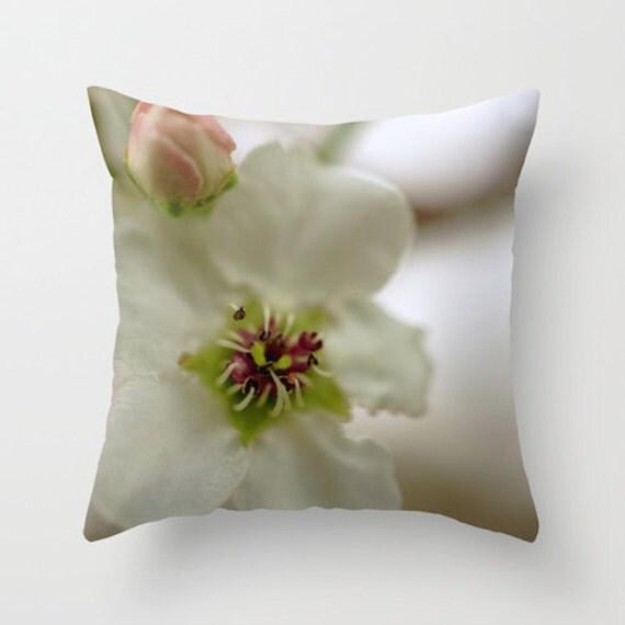 Flower Photo Pillow, Spring Pillow, Green Pink White, Pillow Cover, Throw Pillow, Bedroom Pillow, Indoor Pillow, Outdoor Pillow, Pear Tree