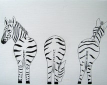 Popular items for zebra drawing on Etsy