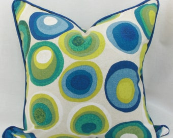 "Blue & green pillow cover with blue welt option. P. Kaufman Puddle Dots decorative pillow cover. 18"" x 18"". 20"" x 20"" pillow. Accent pillow."