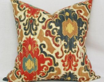 Red blue tan ikat throw pillow cover 18x18 20x20 22x22 24x24 26x26 Red euro sham Ikat lumbar pillow Red 12x20 13x20