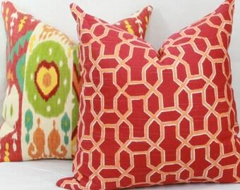 "Red & orange trellis decorative throw pillow cover. 18"" x 18"". 20"" x 20"".22"" x 22"". 24"" x 24"".26"" x 26"". lumbar sizes"