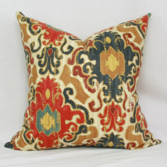 Blue Throw Pillow 20x20 : Red blue tan ikat throw pillow cover 18x18 20x20 22x22 24x24