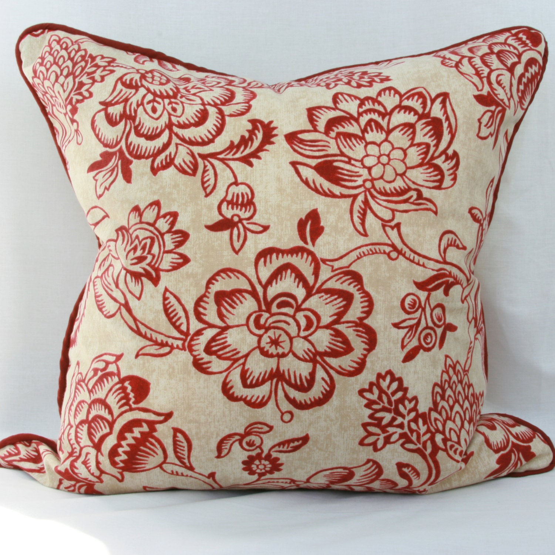 Burgundy Floral Throw Pillows : Burgundy & tan floral decorative throw pillow by JoyWorkshoppe