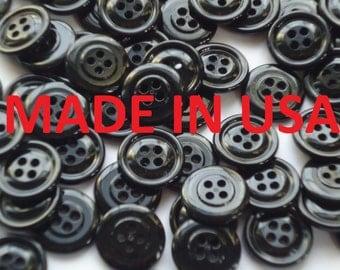"""200 3/4"""" Bulk Black Buttons 20mm  Black Plastic Buttons 30L Bulk Black Buttons Wholesale Buttons"""
