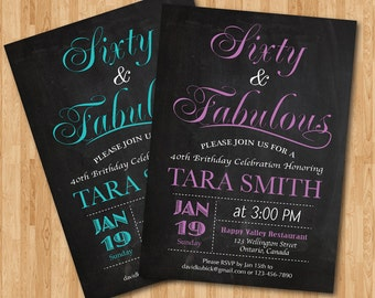 60th birthday invitation for women. Pink, Purple, Blue, Any color. 20th 30th 40th 50th 70th 80th 90th any age. Printable digital DIY