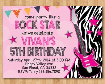 Rock Star Birthday Invitation. Girl Birthday Party Zebra Print Invite. Pink and Black Guitar. Print your own. Printable digital DIY.