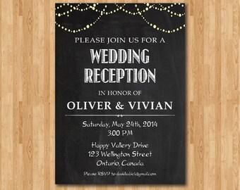 wedding reception invitation chalkboard. reception invite., Wedding invitations