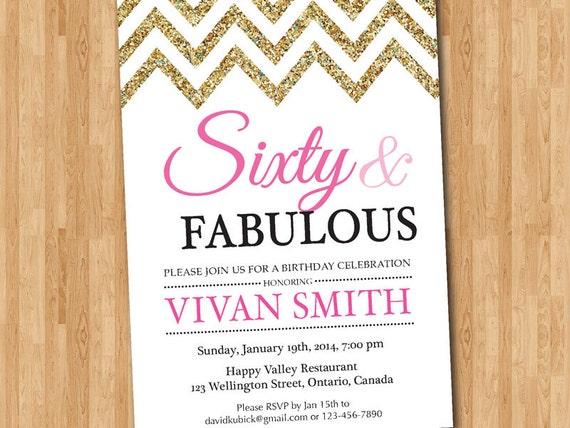 60th birthday invitation women sixty and fabulous glitter etsy filmwisefo