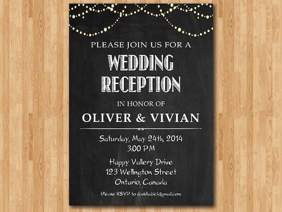 Wedding Welcome Dinner Invitation Wording: Wedding Reception Invitation. Reception Invite. Chalkboard