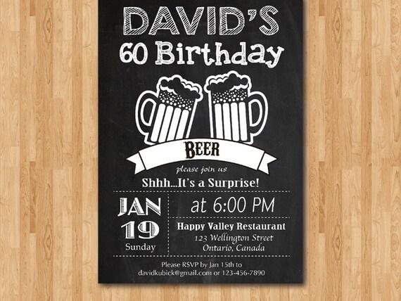 Einladungskarten Zum 75 Geburtstag Elegant Frei Einladung: Überraschung-Bier-Geburtstag-Partei-Tafel. 60. Geburtstag