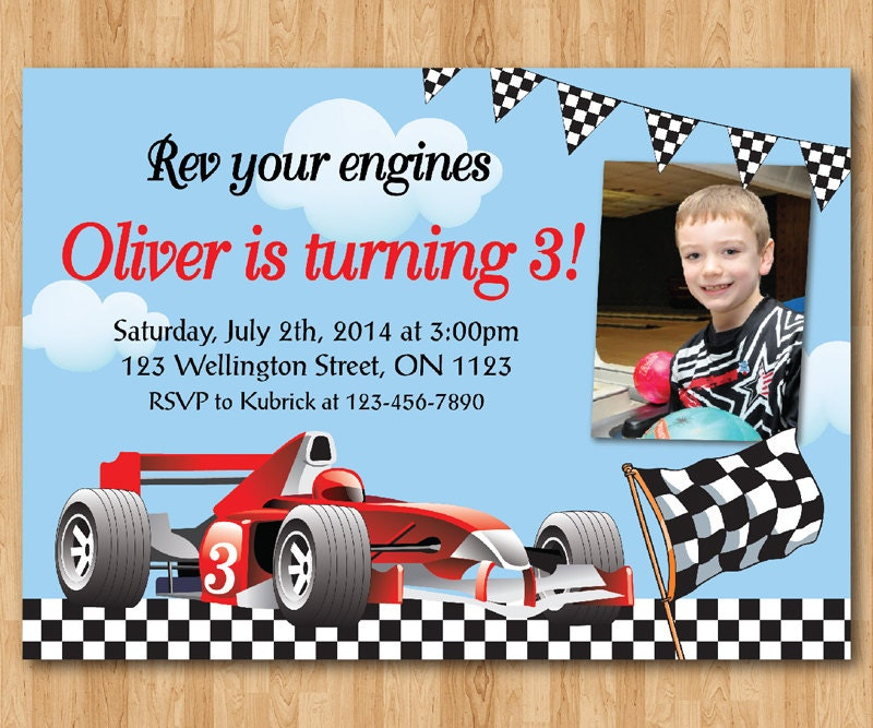 race car birthday invitation. boy racing car birthday party, Birthday invitations