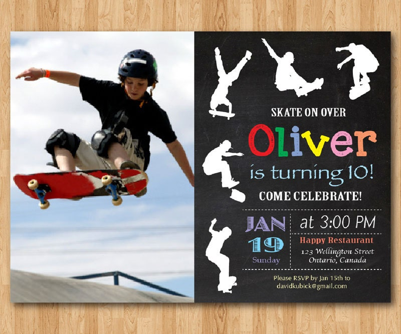 Skateboard Birthday Invitation. Boy Skating Theme Party