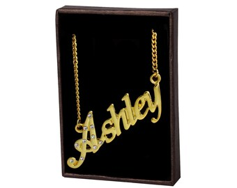 Name Necklace Ashley - Gold Plated 18ct Personalised Necklace with Czech Rhinestones