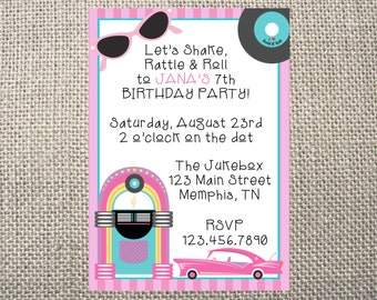 PRINTED or DIGITAL 50s Fifties Elvis Poodle Skirt Birthday Invitations 5x7 Customized 50s Design 0.82 each