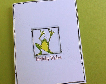 Happy Birthday Card Birthday Card Birthday Wishes Card Handmade Card Hand stamped Card Frog Card Greeting card GlitzGlitterandGlue