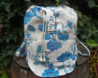 Floral canvas big backpack