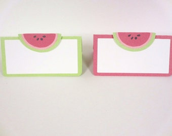 Watermelon Food Tents Buffet Labels / Place Cards Set of 6 Birthday Party Shower Pink Green