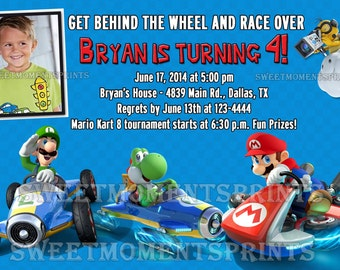 Nintendo Mario Kart Custom Photo Birthday Party Invitations