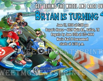 Nintendo Mario Kart Custom Birthday Party Invitations