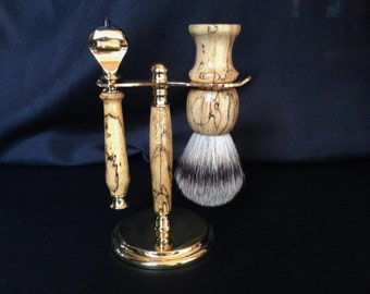 Custom Shaving Set - Spalted Tamarind - Fusion Razor - Silvertip Shaving Brush