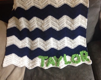 Chevron baby boy blanket with name