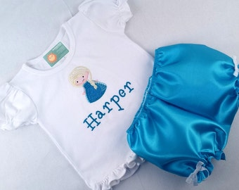Girl's Ice Queen Frill Top with Coordinating Teal Satin Bloomers