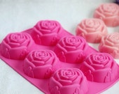 Rose 6 in 1 Silicone Mold for Baking Soap Making Cake Decorating Candy Chocolate Ice Jelly Candle Mould