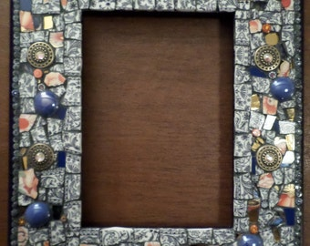 Mosaic Mirror - Wall Mirror - Mosaic Wall Mirror in Shades of Blue, Gold, and Tangerine