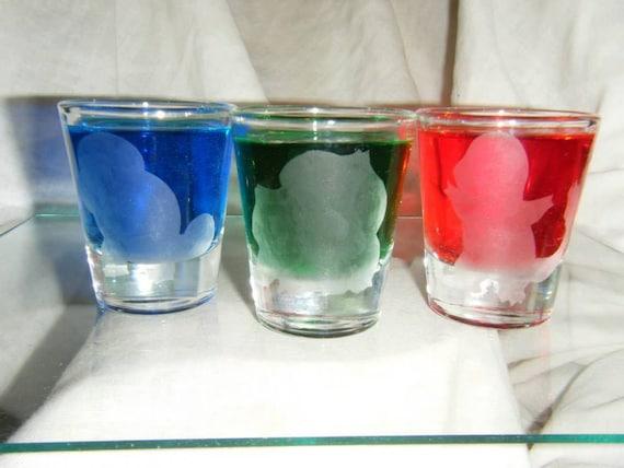 Pokemon solid starter etched shot glass set of 3 fan art