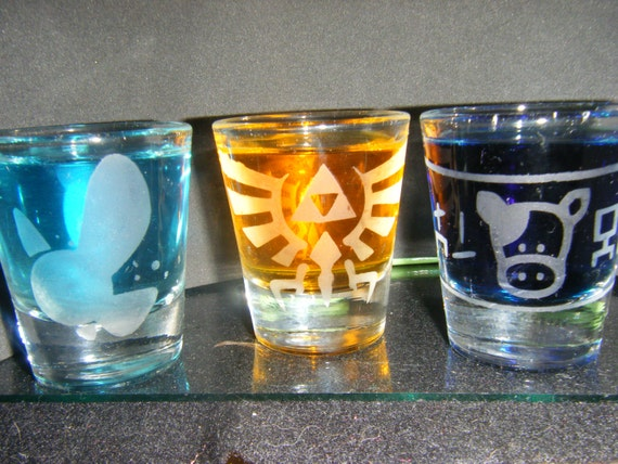 Legend of Zelda etched shot glass set of 3 fan art