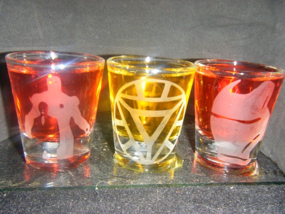 Ironman etched shot glass set of 3 fan art
