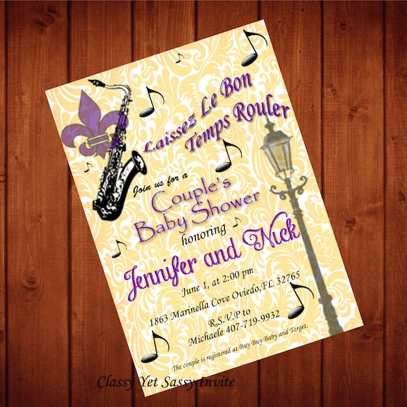 Items similar to New Orleans Lamp Post Jazz Baby Shower Invitation