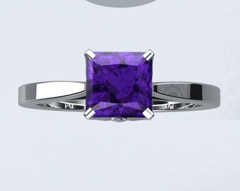 Amethyst Engagement Ring Bloomed Love Inspired Princess Cut VVS Amethyst 1.25ct 14kt White Gold Engagement Ring Wedding Ring