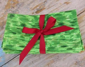 Green Brushstrokes Christmas Cloth Napkins