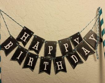 "Cake Bunting, Happy Birthday, ""Chalkboard"", Cake Topper, Cake Banner"