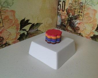 50 Scallop circle die cuts in 10 colours, paper die cuts, 1.5inch scallop circles