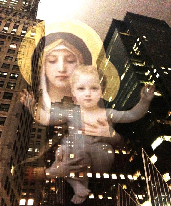 Marys Glory-Original Art Print - Madonna and Baby Jesus Original Art Print  Spiritual iWall Art